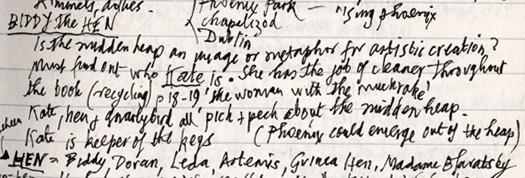 The disorganized notes of Finnegan's Wake may resemble pages in the original drafts of Q.